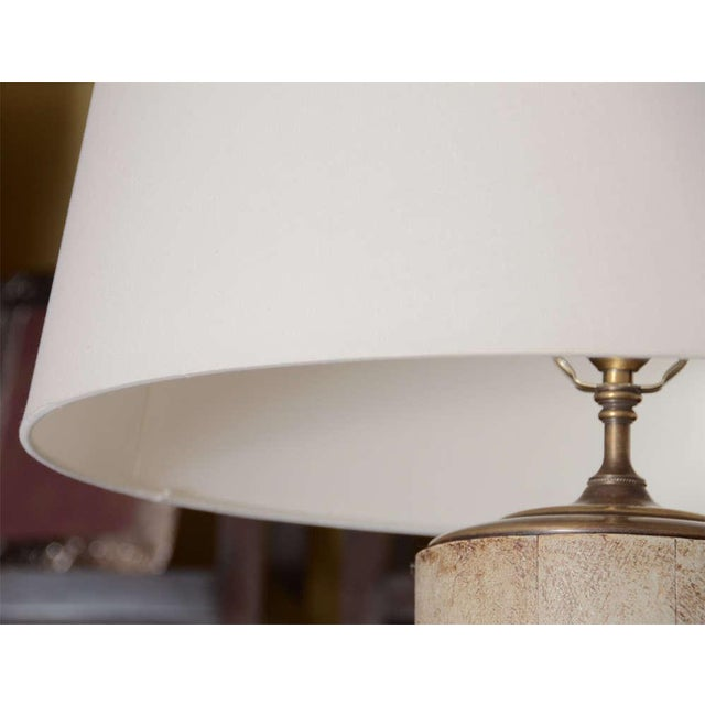 Greige Textured Cylinder Lamps - A Pair - Image 5 of 5