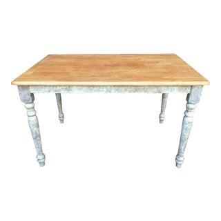 Shabby Chic Farm Table - Oak Top For Sale