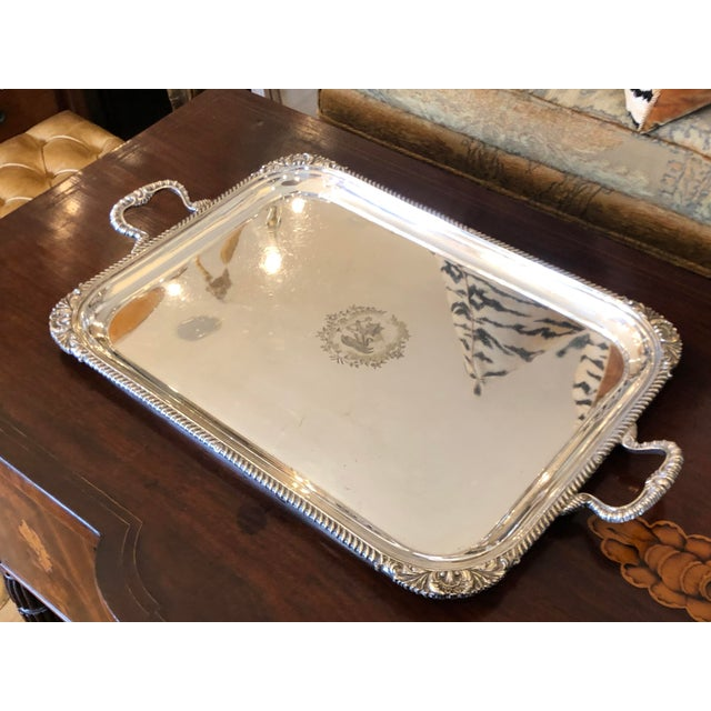 19th Century Antique Mappin & Webb Heraldic Armorial Serpent Crest Silver Tray Platter For Sale In Los Angeles - Image 6 of 6