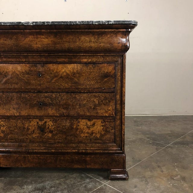 Marble 19th Century Louis Philippe Burl Walnut Marble Top Commode For Sale - Image 7 of 11