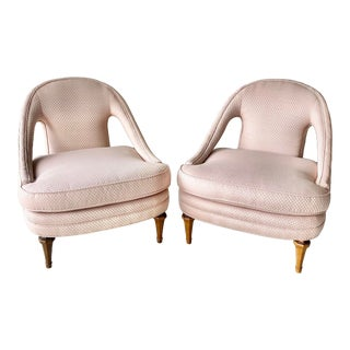 Vintage Berger Style Pink Accent Chairs - a Pair For Sale