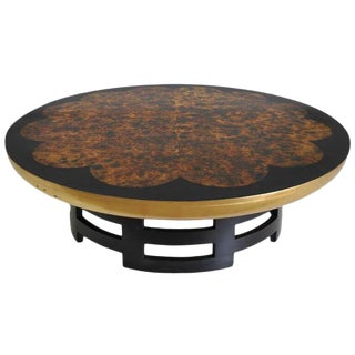 1960s Chinoiserie Muller and Barringer for Kittinger Round Lotus Coffee Table For Sale