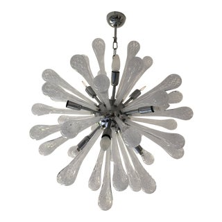 White & Transparent Murano Glass Sputnik Chandelier For Sale