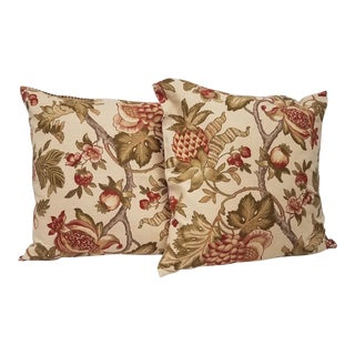Strawberry Pomegranate and Pineapple Pillows - A Pair For Sale