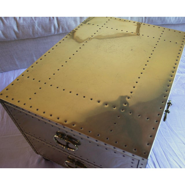 1970s Sarreid Ltd. Spanish Polished Brass Clad Studded Chest Coffee Table For Sale - Image 10 of 12