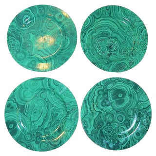 Traditional Malachite Plates - Set of 4 (Neiman Marcus)