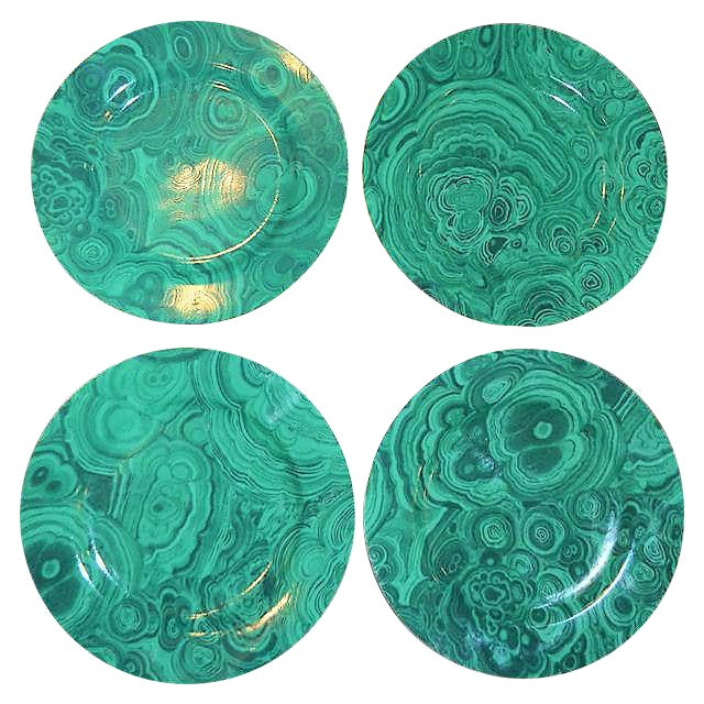 Traditional Malachite Plates - Set of 4 (Neiman Marcus) - Image 1 of 7