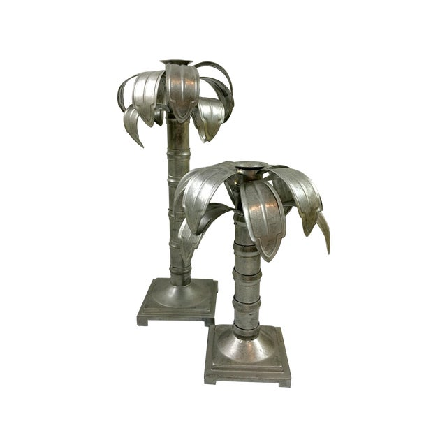 Palm Tree Metal Candleholders - Pair For Sale
