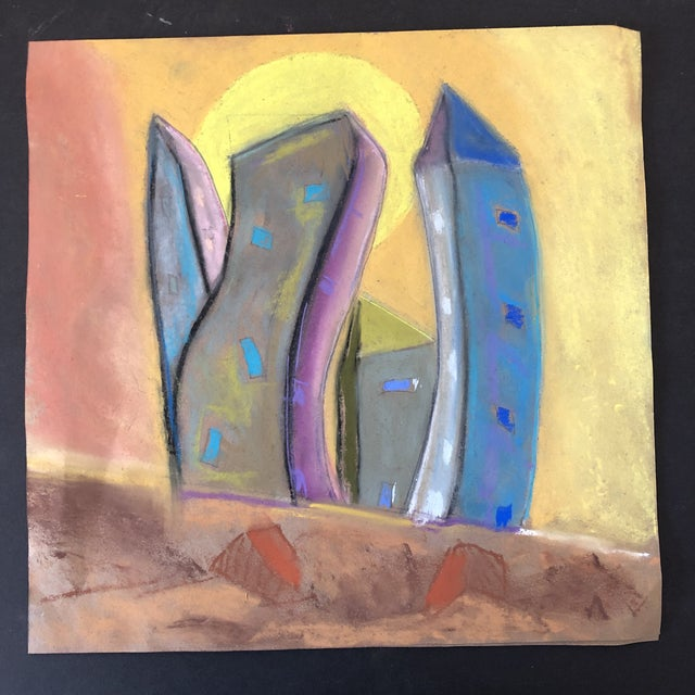2010s Who City, an Original Pastel by Erik Sulander 12x12 For Sale - Image 5 of 5
