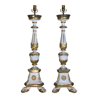 Antique Neoclassical Italian Carved Gold Giltwood Candlestick Table Lamps - a Pair For Sale