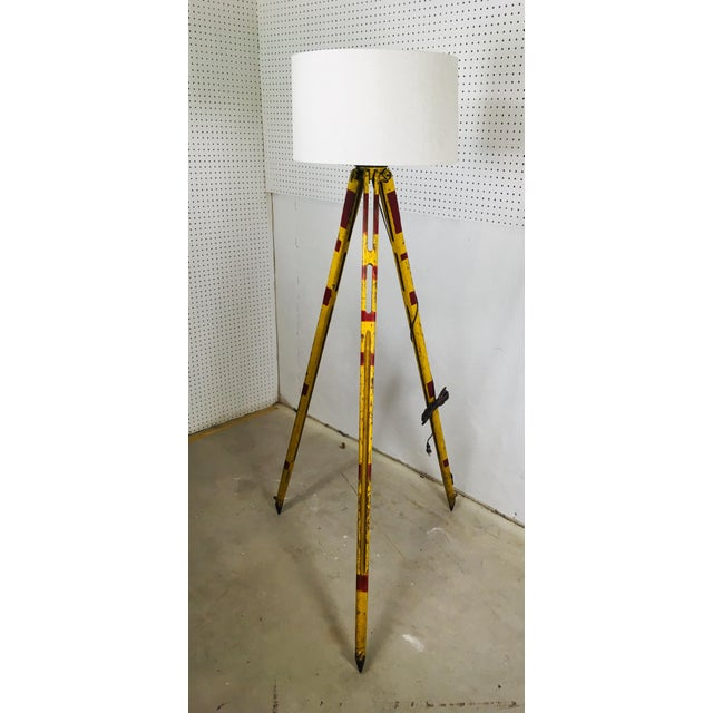 Red Vintage Red and Yellow Surveyors Tripod Floor Lamp with Linen Shade For Sale - Image 8 of 9