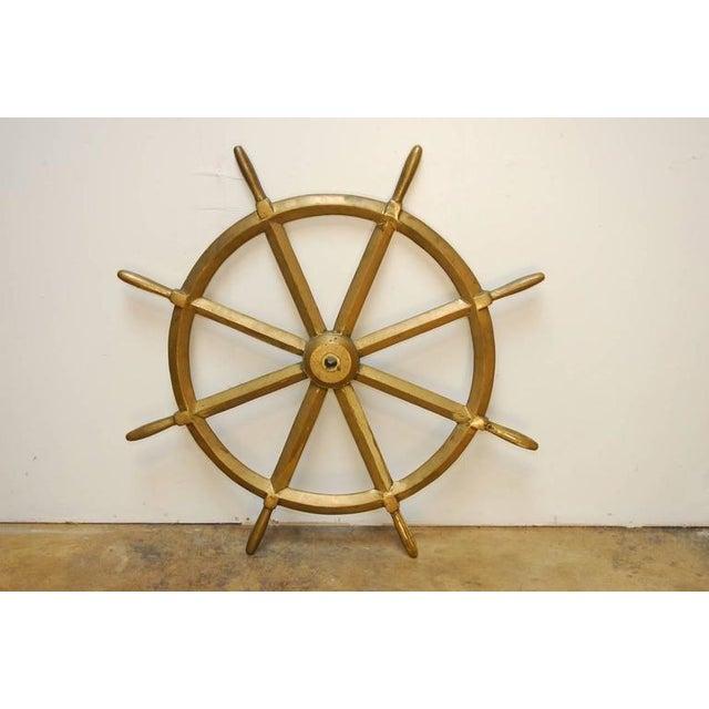 England Victorian Navy HMS Solid Brass Ships Wheel, circa 1910 - Image 7 of 8