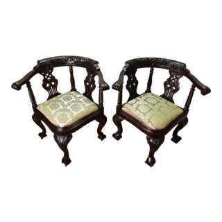 Late 19th Chippendale Solid Mahogany Carved Corner Chairs- A Pair For Sale
