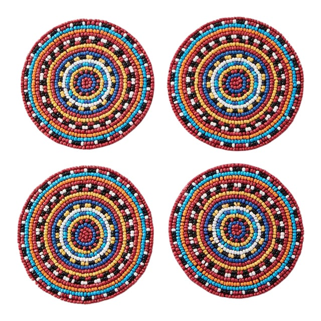 Multi Beaded Coasters - Set of 4 For Sale