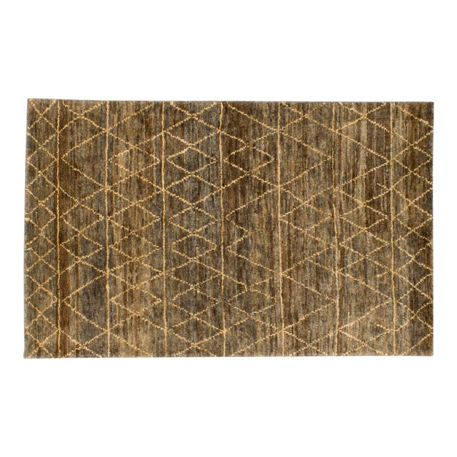 Solo Rugs Grit and Ground Collection Contemporary Moroccan Jute Hand-Knotted Area Rug, Brown , 5' X 8' For Sale