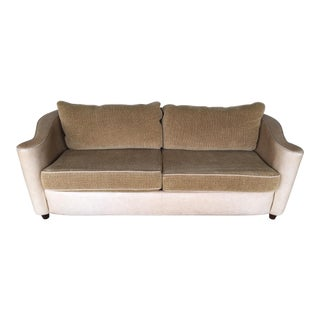 Thayer Coggin Leather & Fabric Scroll Back Contemporary Sofa For Sale