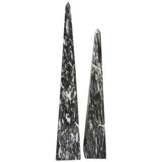 Carved Gray and White Marbled Obelisks - a Pair For Sale
