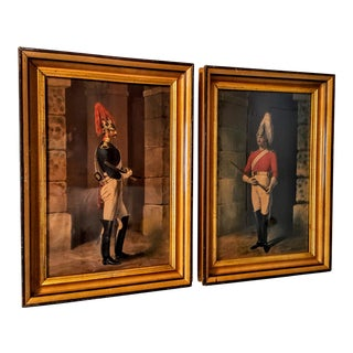 19th Century Framed Chomolithographs of Imperial Guards - Set of 2 For Sale