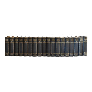 Charles Dickens Library Hardcover Navy Blue Cloth Bound Books - Set of 18 Volumes For Sale