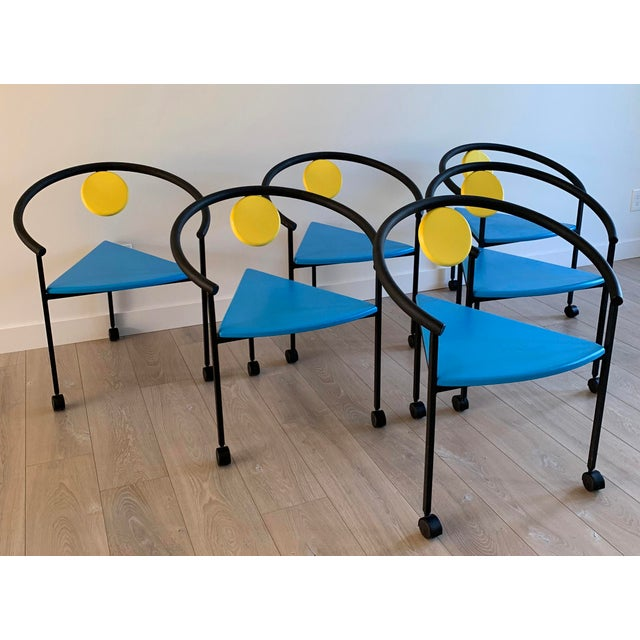 1990s Set of 6 Memphis Three Legged Dining Chairs in the Manner of Michele De Lucci For Sale - Image 5 of 7