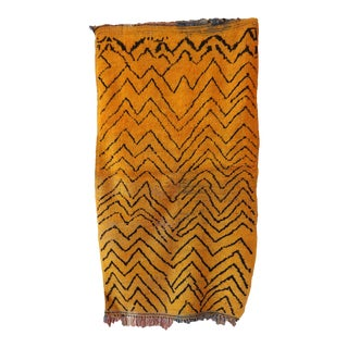 1970s Moroccan Vintage Yellow Rug For Sale