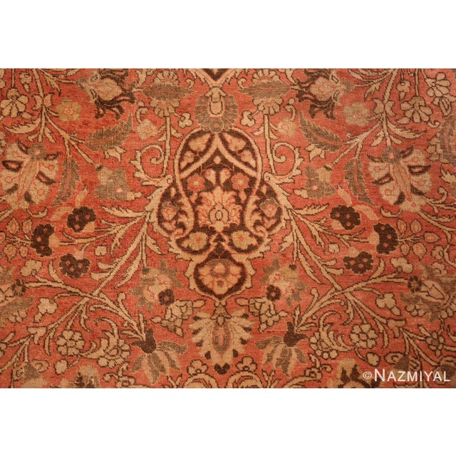 Antique Persian Tabriz Dusty Rose Rug - 13′7″ × 17′ For Sale - Image 4 of 8