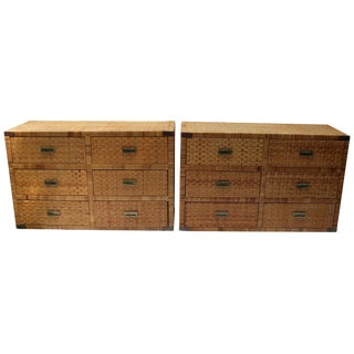Pair of Bielecky Brothers Style Rattan Chests For Sale
