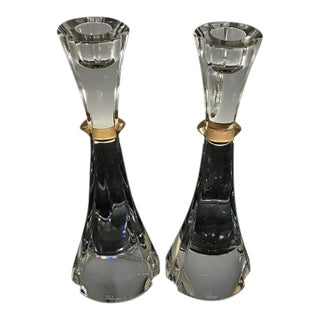 Faberge Crystal and Gold Crystal Candlesticks - a Pair For Sale