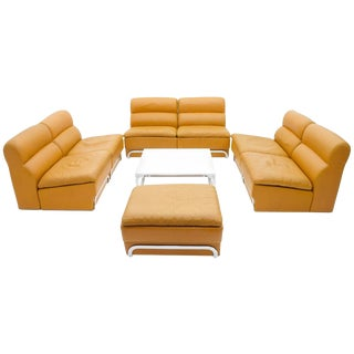 Modular Seating Group & Coffee Table Leather Sofa by Horst Brüning for Kill 1970 For Sale