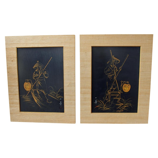 1960s Japanese Brush Paintings - A Pair - Image 1 of 6