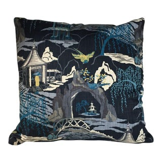 Kim Salmela Pagoda Indigo Pillow For Sale