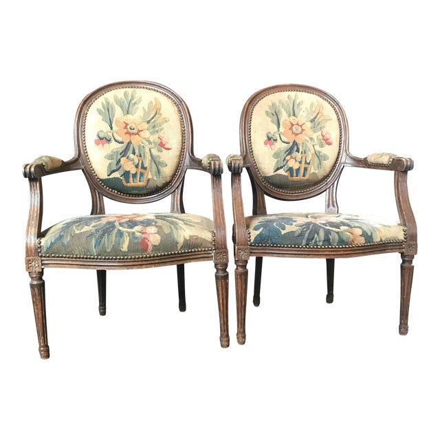 Period French Walnut Louis XVI Antique Carved Tapestry Fauteuils - a Pair For Sale