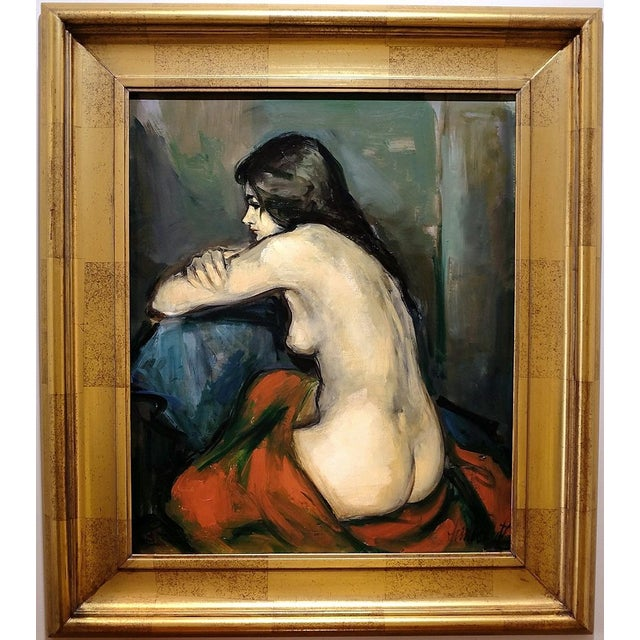 20th Century Figurative Nude Portrait Oil on Canvas by Jan De Ruth For Sale - Image 9 of 9