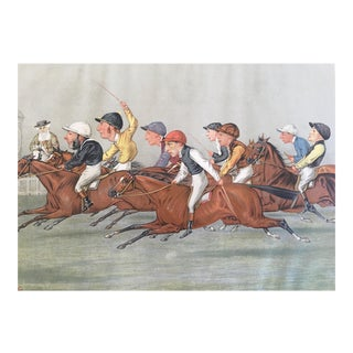 "1888 Vanity Fair ""The Winning Post"" Double Page Jockey / Horse Racing Print"