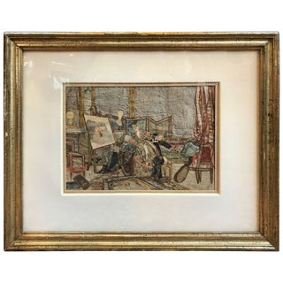 19th Century French Interior Scene Collage of Silk and Paper For Sale