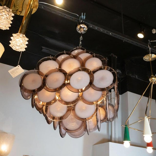 Modernist Pagoda Style Disc Chandelier in Handblown Murano Amethyst Glass For Sale - Image 4 of 7