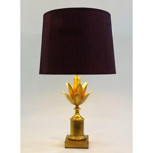"Gold Maison Charles Brass Table Lampe "" Lotus "" - Circa 1960 France For Sale - Image 8 of 8"