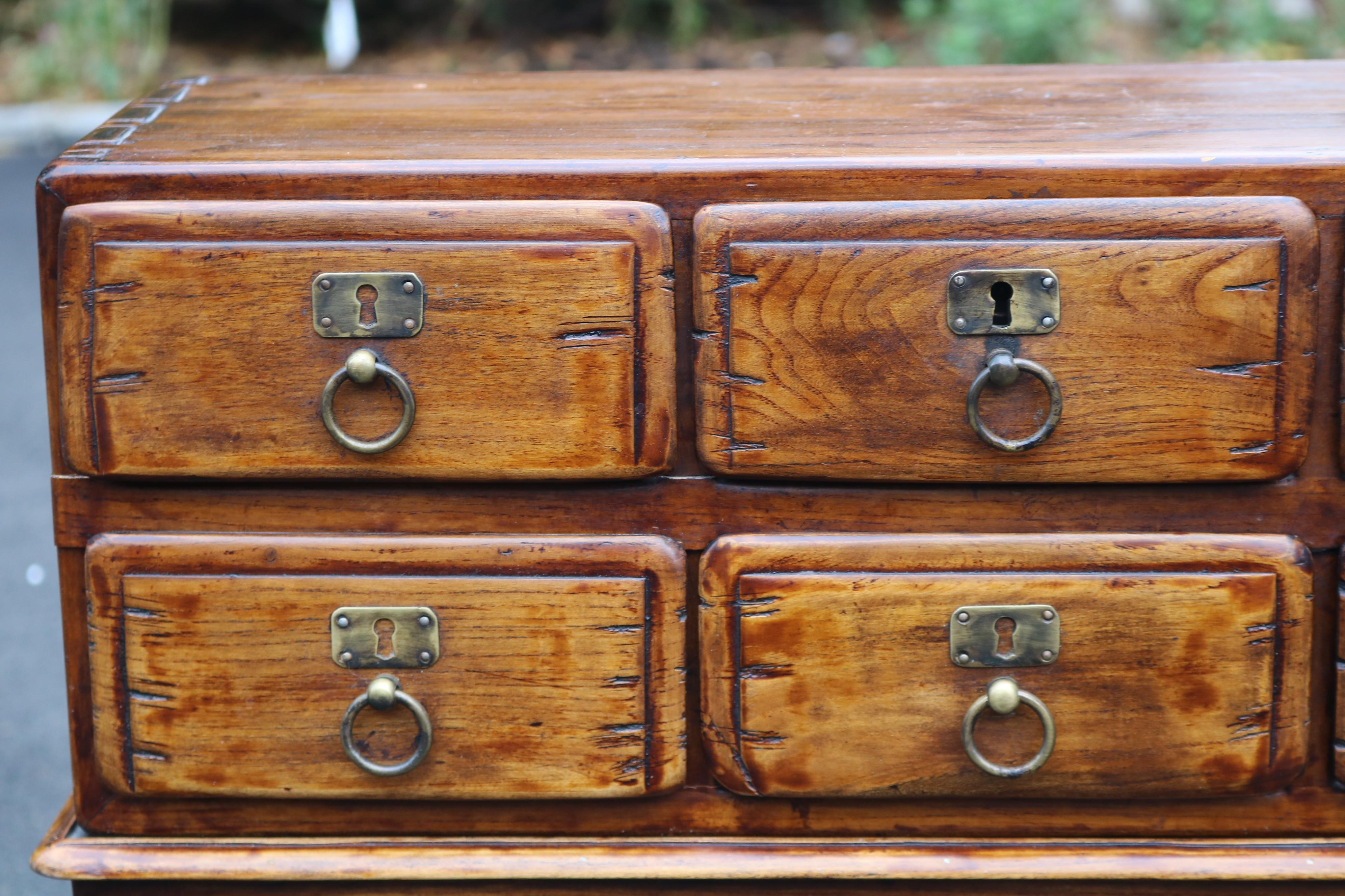Charmant Vintage Wooden Tea Chest Spice Or Apothecary Storage Chest For Sale   Image  4 Of 11
