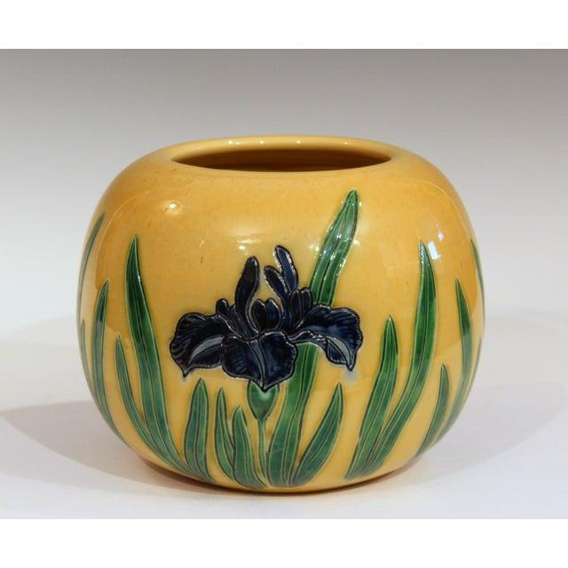 "Tanabe-Awaji Japanese Studio Pottery vase with three incised iris vignettes, circa 1920s. Measures: 9"" high, 10"" diameter...."