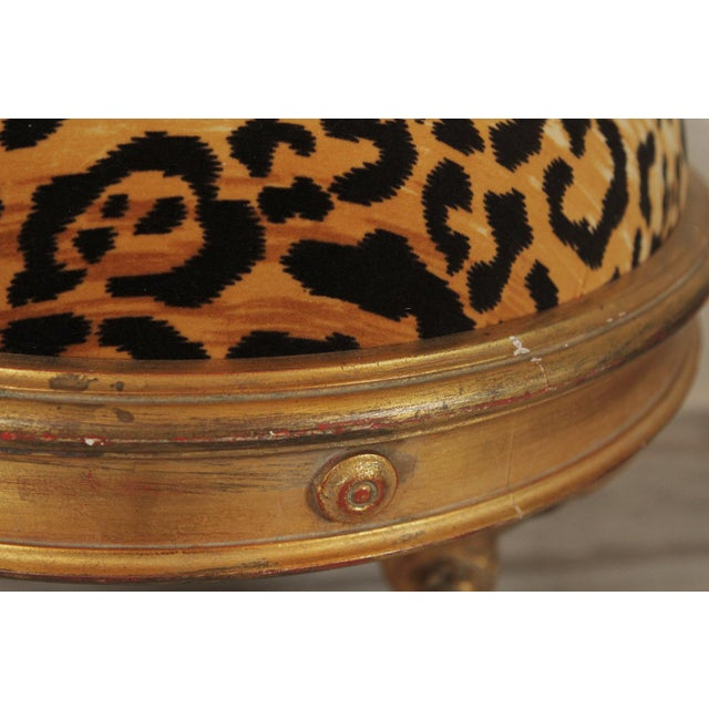 Hollywood Regency 20th Century Charles X Style Giltwood Leopard Upholstered Stool For Sale - Image 3 of 8