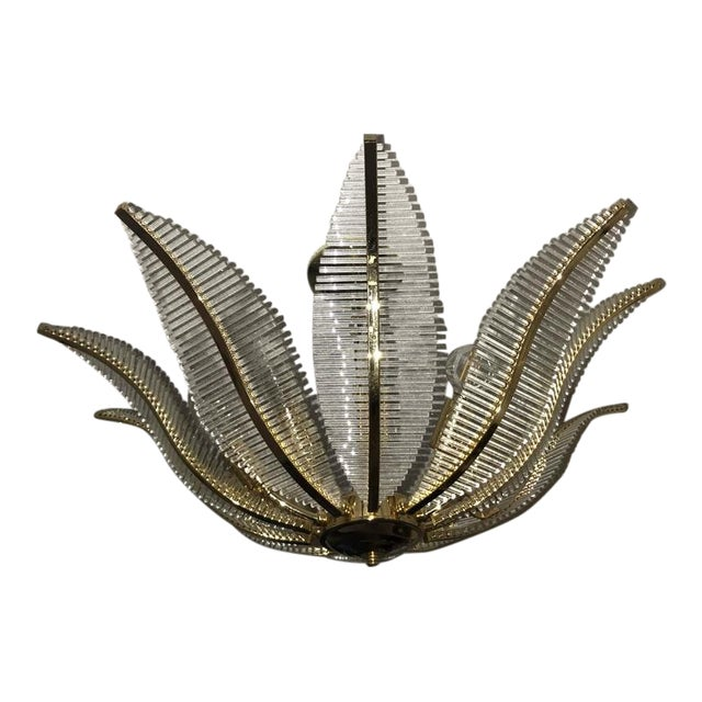 1970s Gaetano Sciolari 10 Light Glass Rod and Brass Palm Frond Leaf Chandelier, Italy For Sale