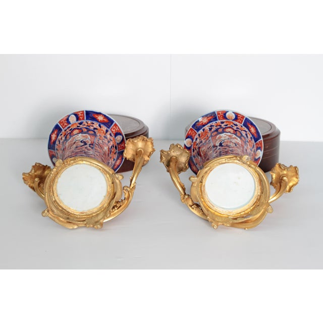 Bronze Pair of 19th Century Ormolu Mounted Imari Vases With Mahogany and Marble Stands For Sale - Image 7 of 12