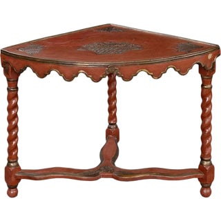 French Red Lacquer Corner Table For Sale