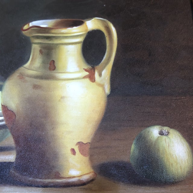 1990s Vintage Apples & Pitcher Still Life Painting For Sale - Image 4 of 6