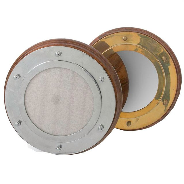 Gold Nautical Portholes Mirror & Frame Set - a Pair For Sale - Image 8 of 8