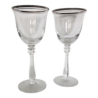 Vintage Double Line Platinum Rim Crystal Wine Glasses - a Pair For Sale