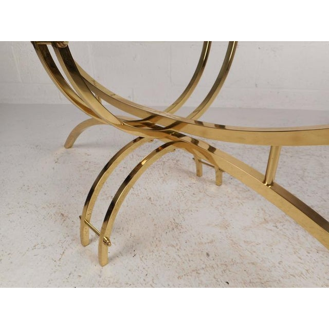 Metal Contemporary Modern Glass and Brass Surfboard Coffee Table For Sale - Image 7 of 8