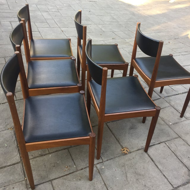 Danish Modern Teak and Black Vinyl Dining Chairs - Set of 6 - Image 4 of 11