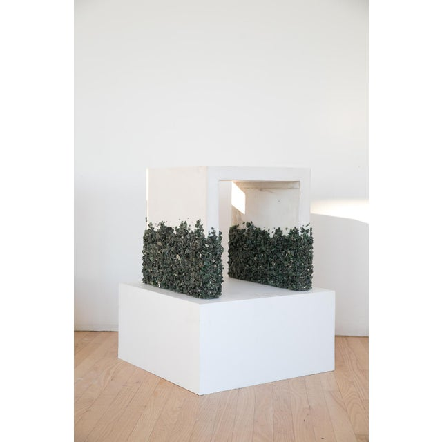 Hand Made Side Table of Dark Green Aventurine, Pyrite and White Plaster For Sale In New York - Image 6 of 6