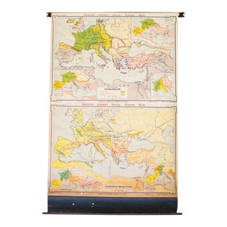 Oversized Industrial Pull Down Map of Europe during Charlemagne